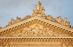 Brussels - Tympanum of the Stock Exchange Stock Images