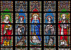Brussels - Virgin Mary and saints from windowpane in gothic church Notre Dame du Sablon Stock Image