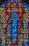 Brussels - Virgin Mary and the Trinity from modern windowpane in st. Nicholas church Stock Images