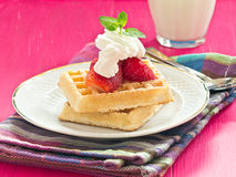 Brussels waffles with strawberries Royalty Free Stock Photos