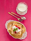 Brussels waffles with strawberries Stock Photo