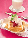 Brussels waffles with strawberries Stock Image