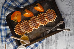 Brussels waffles on the vintage tray Royalty Free Stock Photo