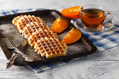 Brussels waffles on the vintage tray Stock Image