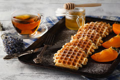 Brussels waffles on the vintage tray Royalty Free Stock Images