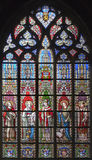 Brussels - windowpane in church Notre Dame Royalty Free Stock Image