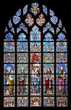 Brussels - windowpane from Notre Dame du Sablon Stock Image