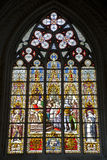 Brussels - windowpane from Saint Michael cathedral Royalty Free Stock Photo