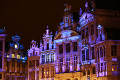 Brussels Winter Wonders - 05. The buildings of the Grand Place of Brussels are illuminated during the winter wonders happening Stock Photo
