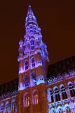 Brussels Winter Wonders - 06. The buildings of the Grand Place of Brussels are illuminated during the winter wonders happening Royalty Free Stock Photo