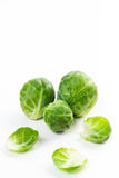 Brussles sprouts isolated on white. Raw and uncooked brussels sprouts isolated on white stock images