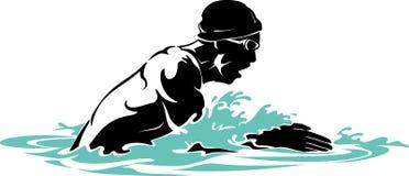 Brust-Anschlag-Schwimmer Men vektor abbildung