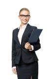 Brustbild der Geschäftsfrau mit Dokumenten Lizenzfreies Stockbild