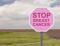 Brustkrebs-Stoppschild Stockfoto