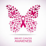 Brustkrebsbewusstsein mit Schmetterlingszeichen und rosa Band vector Illustration Stockbilder