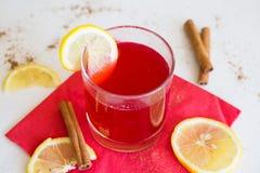 Brusznicowy napój z cytryną Obrazy Royalty Free