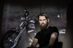 Brutal angry biker Royalty Free Stock Photo