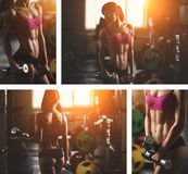 Brutal athletic woman pumping up muscles with Royalty Free Stock Images