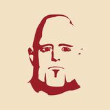 Brutal bald man with a beard. Man avatar. Front view. Isolated male face silhouette or icon. Vector illustration Royalty Free Stock Images