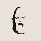 Brutal bald man with a beard. Brutal bald man. Man avatar. Front view. Isolated male face silhouette or icon. Vector illustration Stock Photos