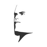 Brutal bald man with a beard. Brutal man. Man avatar. Half turn view. Isolated male face silhouette or icon. Vector illustration Stock Images