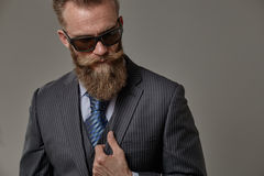 Brutal beard man. Brutal man with beard in classic suit in modern style portrait Royalty Free Stock Image