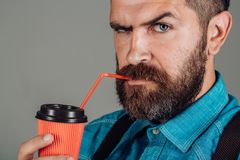 Brutal bearded man with take away coffee. mature hipster drink coffee. full of energy. male with beard. Good morning. Coffee. Morning inspiration. serious stock photos