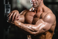 Brutal caucasian handsome fitness men on diet training chest pum. Brutal caucasian handsome fitness man on diet training chest pumping up body Stock Photography