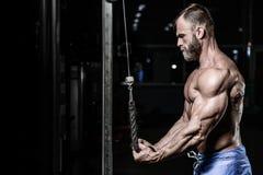 Brutal caucasian handsome fitness men on diet training triceps g. Brutal caucasian handsome fitness man on diet training triceps in gym pumping up body stock photography