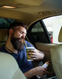 Brutal caucasian hipster med mustaschen Manlig barberareomsorg Mogen hipster med skägget skäggig man förtjänster på royaltyfri bild