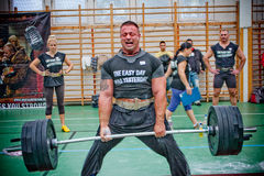 Brutal challenge. PECS - OCTOBER 16: Unknown man participates in Brutal Challenge power lifting championship October 16, 2010 in Pecs, Hungacry Stock Photos