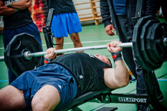 Brutal challenge. PECS - OCTOBER 16: Unknown man participates in Brutal Challenge power lifting championship October 16, 2010 in Pecs, Hungacry Stock Photo