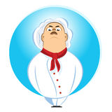 Brutal chef looking down on his subordinates. Illustration of brutal chef looking down on his subordinates Royalty Free Stock Images