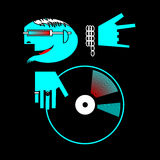 Brutal DJ Logo. A stylized picture depicting a DJ in a metal attributes and clubs, playing on vinyl. Option in blue on black background. Illustration in a vector Stock Images