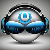 Brutal DJ music smiley with headphones. And the power button on the royalty free illustration
