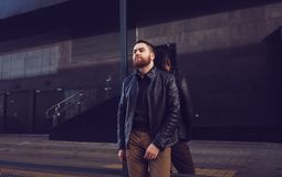 Fashion male model in leather jacket. Royalty Free Stock Photo