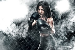 Brutal Fighter boxer woman close up. Sport Concept. Stock Photos