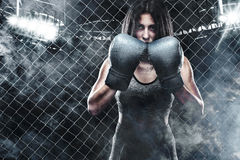 Brutal Fighter boxer woman close up. Sport Concept. Royalty Free Stock Photos