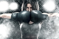 Brutal Fighter boxer woman close up. Sport Concept. Stock Photography