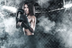 Brutal Fighter boxer woman close up. Sport Concept. Royalty Free Stock Photography