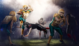 Brutal football action on 3d sport arena. mature players with ball stock image