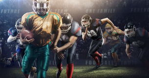 Brutal football action on 3d sport arena. mature players with ball stock photo