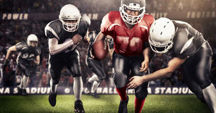 Brutal football action on 3d sport arena. mature players with ball stock photos