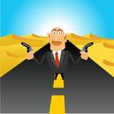 Brutal gangster holding handguns. Illustration of brutal gangster standing in the middle of the road in the desert holding handguns Royalty Free Stock Images