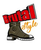Brutal girl style. Fashion sketch. Army boot. With an inscription Royalty Free Stock Images