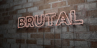BRUTAL - Glowing Neon Sign on stonework wall - 3D rendered royalty free stock illustration. Can be used for online banner ads and direct mailers Royalty Free Stock Image