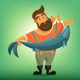 Brutal handsome bearded fisherman with big fish. Royalty Free Stock Images
