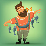 Brutal handsome bearded fisherman with cat. Vector cartoon illustration Royalty Free Stock Photography