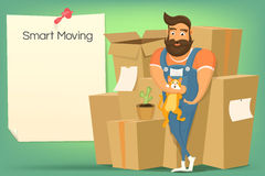 Brutal handsome bearded mover man with cat. Smart moving concept Stock Images