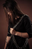 Brutal korean girl with chain Stock Photo